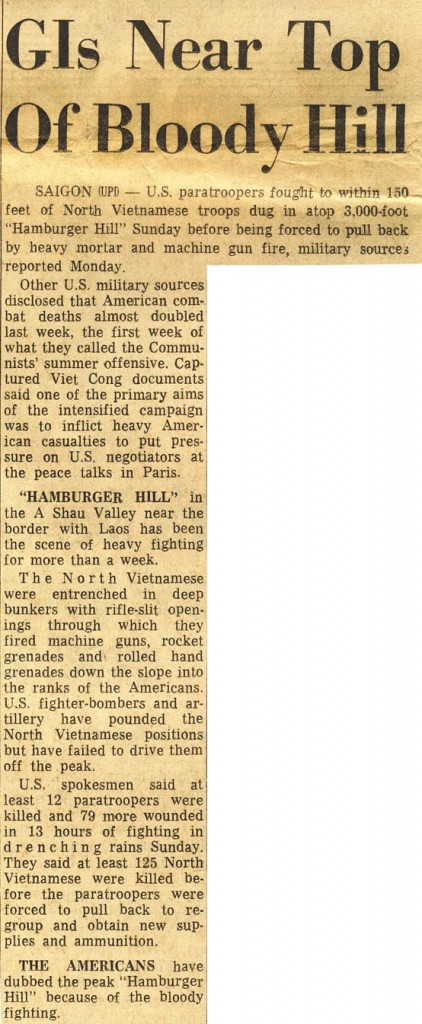 Hamburger Hill - Columbus Evening Dispatch Ohio Headline