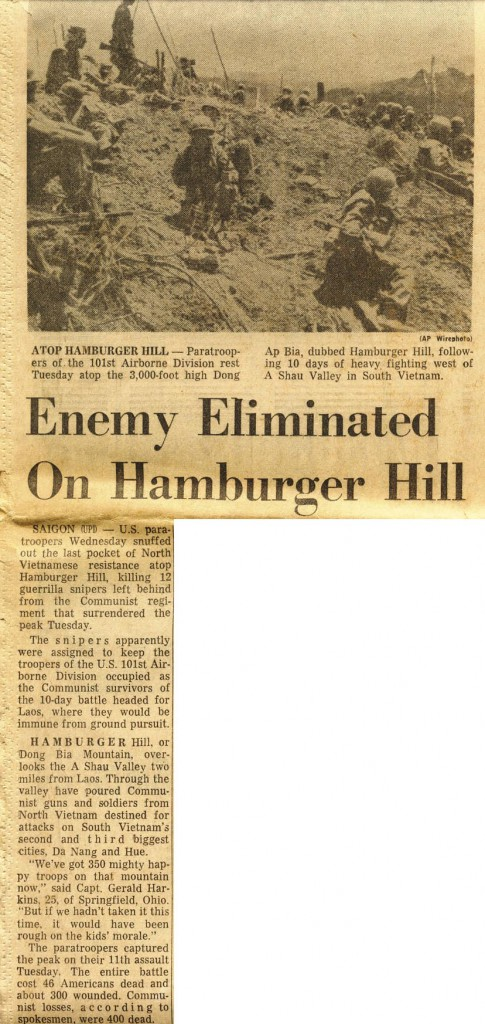 Hamburger Hill Headline - Columbus Evening Dispatch Ohio